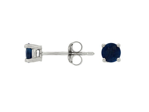 14K White Gold .70 Ctw Round Sapphire Stud Earrings with Friction Post