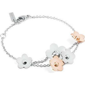 "Brosway 7"" EDEN Bracelet with Flowers, PVD Rose Gold Chain and Swarovski Crystal"
