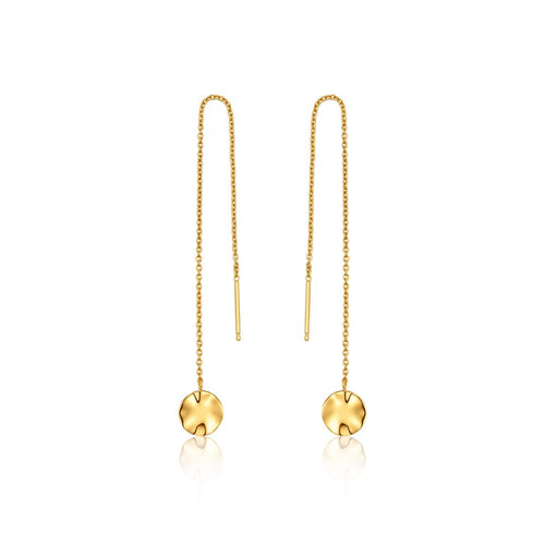 Ripple Threader Earrings Sterling Silver with 14K Gold Plating