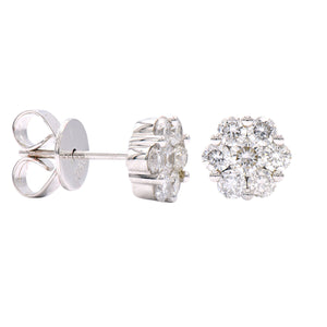 18KW .56 Ctw Diamond Cluster Stud Earrings with Friction Backs