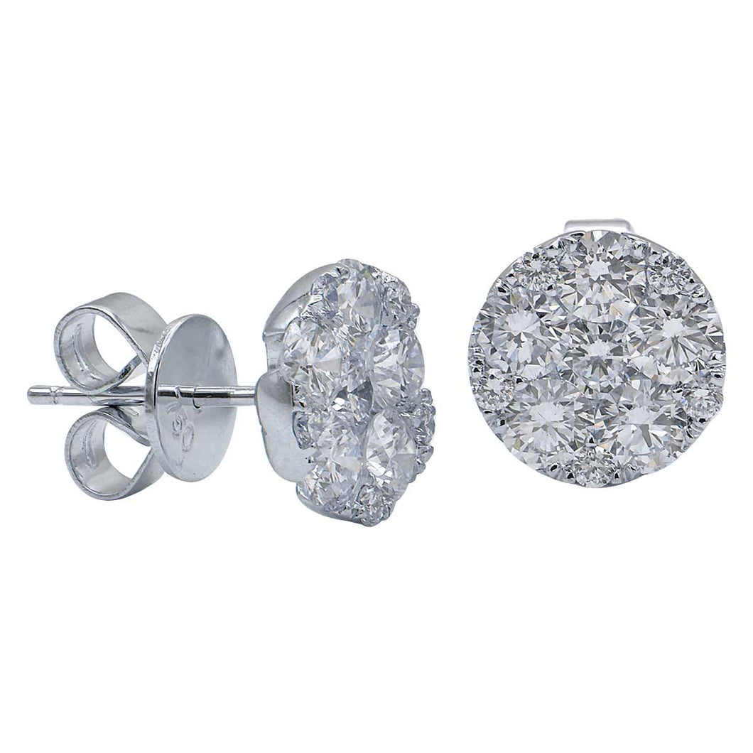 18KW 1.64 Ctw Diamond Cluster Stud Earrings with Friction Backs
