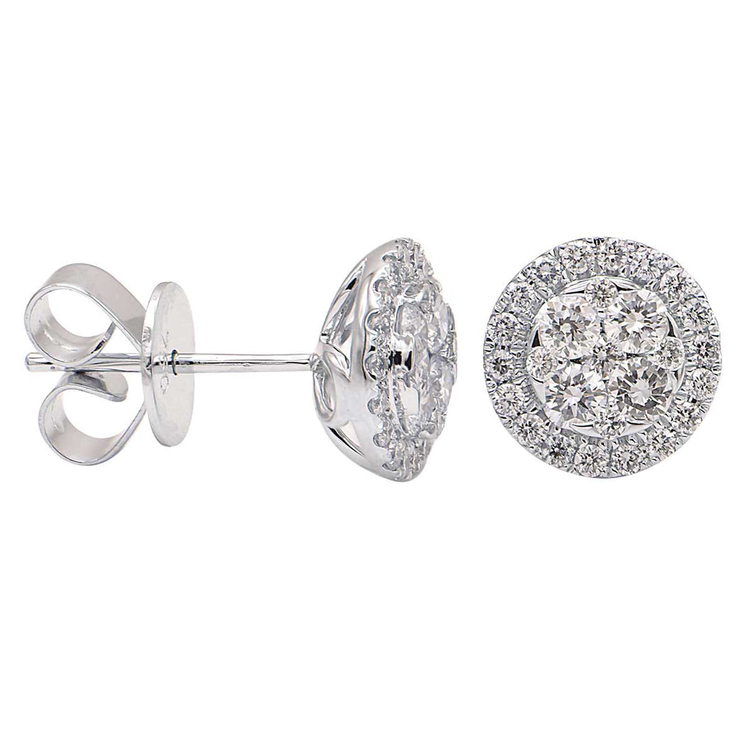 18KW .64 Ctw Diamond Cluster Stud Earrings with Friction Backs