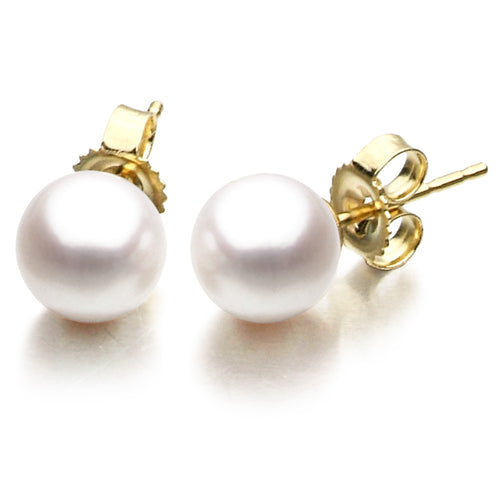 14KY 9.5-10mm White Freshwater Pearl Stud Earrings with Friction Post