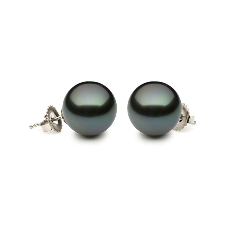 14KW 8-8.5mmTahitian Pearl Stud Earrings with Friction Post