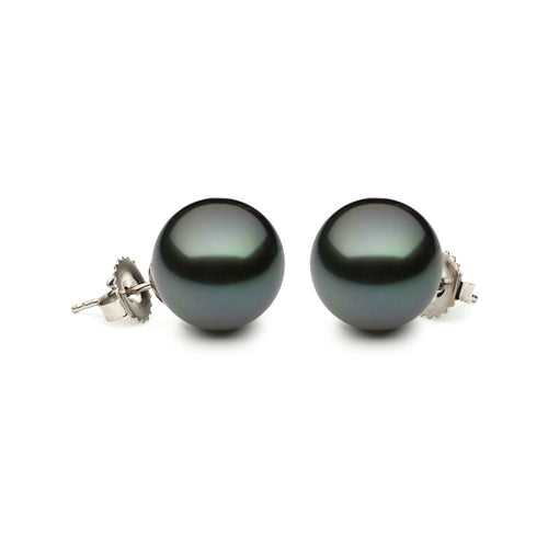 14KW 8.5-9mmTahitian Pearl Stud Earrings with Friction Post