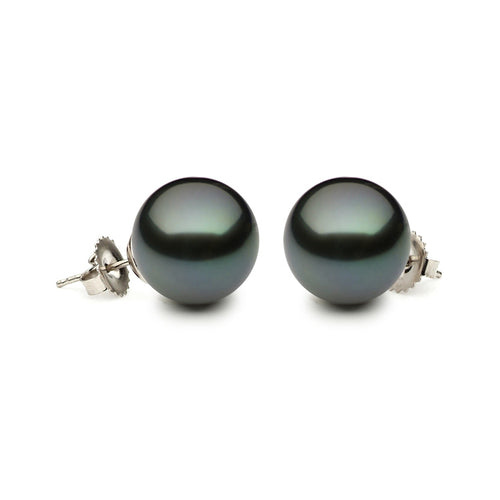 14KW 9-9.5mm Tahitian Pearl Stud Earrings with Friction Post