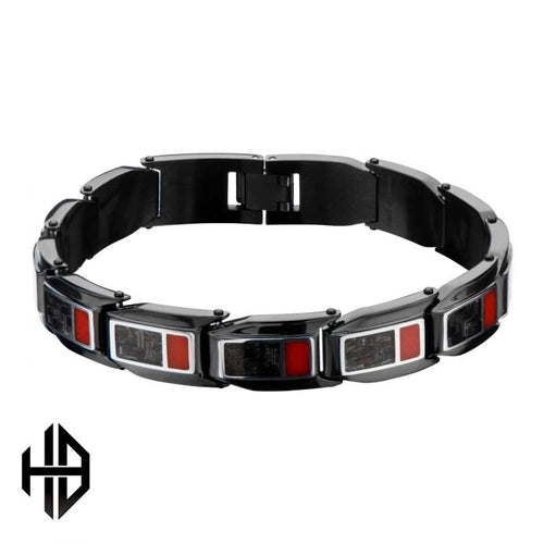 Hollis Bahringer Men's Stainless Steel Black Plated Inlayed Carbon Fiber with Red Enamel Link Bracelet. 8