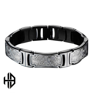 Hollis Bahringer Black Plated Stainless Steel Bold Ornate Texture Link Bracelet