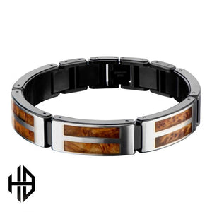Hollis Bahringer Black Plated with Inlayed Palisander Rose Wood Link Bracelet