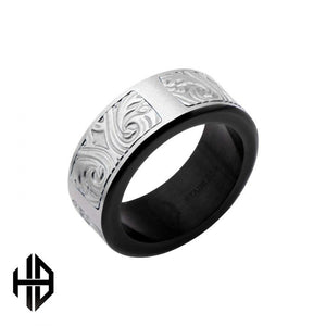 Hollis Bahringer Black Plated Stainless Steel Bold Ornate Texture Ring