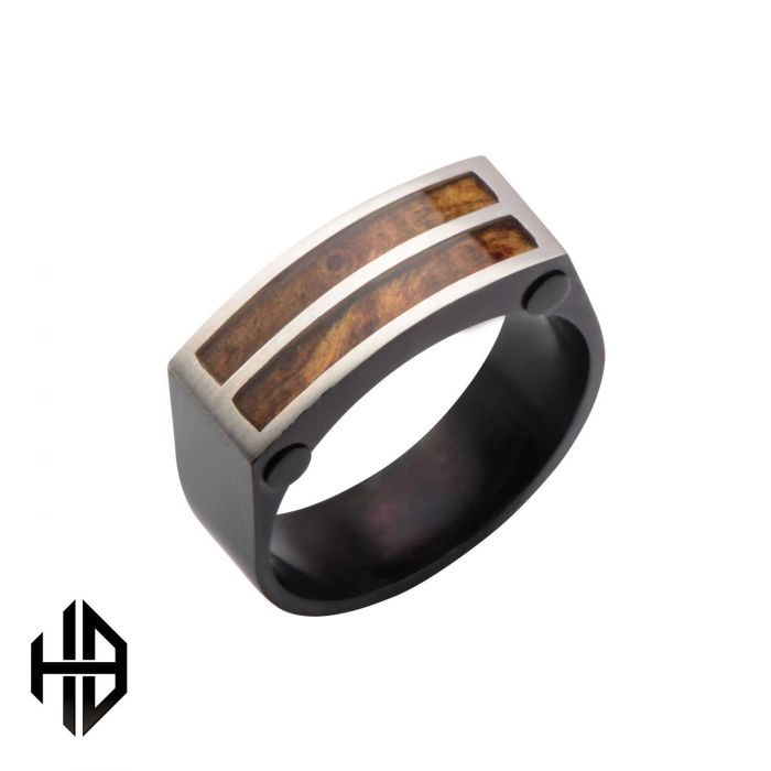 Hollis Bahringer Black Plated with Inlayed Palisander Rose Wood Ring