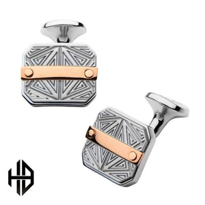 Hollis Bahringer Rose Gold Plated Bar Accent with Gray Steel Labyrintine Cuff Links
