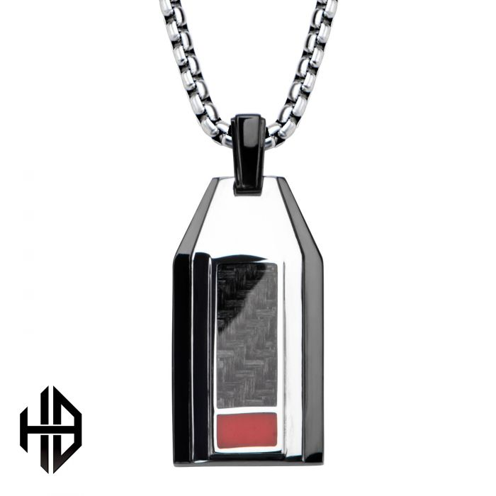 Hollis Bahringer Men's Stainless Steel Black Plated with Carbon Fiber Weave Dog Tag Pendant with 22