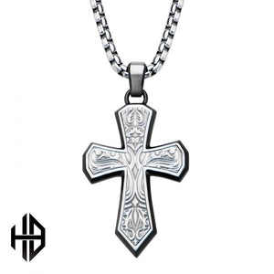 "Hollis Bahringer Black Plated Stainless Steel Bold Ornate Texture Cross Pendant with 22"" Chain"