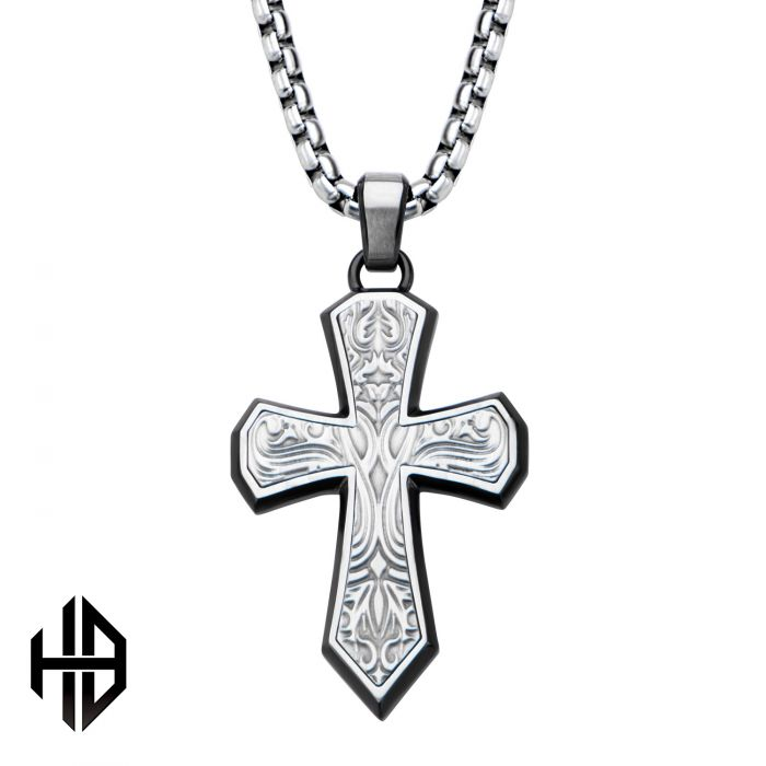 Hollis Bahringer Black Plated Stainless Steel Bold Ornate Texture Cross Pendant with 22
