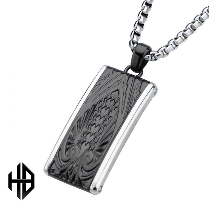 Hollis Bahringer Black Plated Engrave Spade Design in Dog Tag Pendant with 22