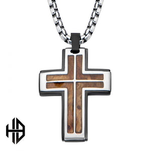 Hollis Bahringer Black Plated with Inlayed Palisander Rose Wood Cross Pendant with Chain