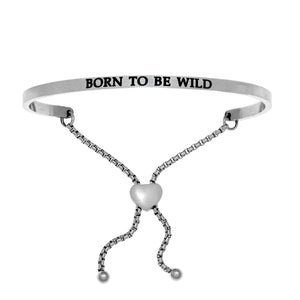 "Stainless Steel White ""Born To Be Wild"" Intuitions Friendship Bracelet"