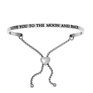 "Stainless Steel White ""Love You To The Moon And Back"" Intuitions Friendship Bracelet"