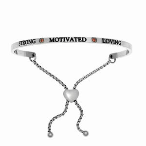 "Stainless Steel White January Birthstone Intuitions Friendship Bracelet with ""Strong Motivated Loving"" Engraving"