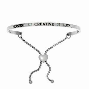 "Stainless Steel White March Birthstone Intuitions Friendship Bracelet with ""Honest Creative Loyal"" Engraving"