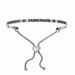 "Stainless Steel White July Birthstone Intuitions Friendship Bracelet with ""Confident Passionate Strong"" Engraving"