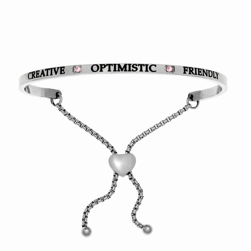 Stainless Steel White October Birthstone Intuitions Friendship Bracelet with
