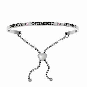 "Stainless Steel White October Birthstone Intuitions Friendship Bracelet with ""Creative Optimistic Friendly"" Engraving"