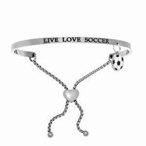 "Stainless Steel White ""Live Love Soccer"" Intuitions Friendship Bracelet"