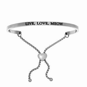 "Stainless Steel White ""Live Love Meow"" Intuitions Friendship Bracelet"