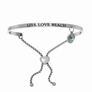 "Stainless Steel White ""Live Love Beach"" Intuitions Friendship Bracelet"