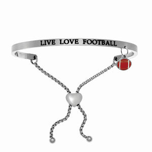 "Stainless Steel White ""Live Love Football"" Intuitions Friendship Bracelet"