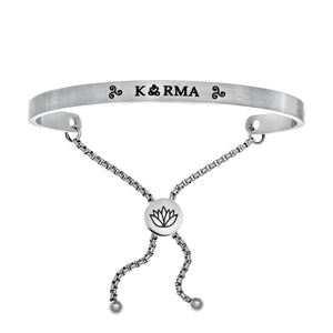 "Stainless Steel White ""Karma"" Intuitions Friendship Bracelet"