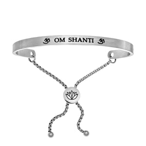 "Stainless Steel White ""Om Shanti"" Intuitions Friendship Bracelet"