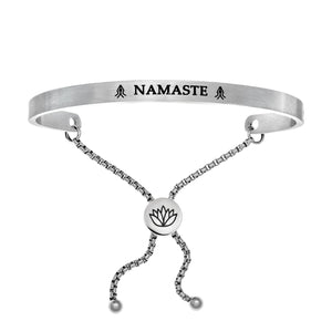 "Stainless Steel White ""Namaste"" Intuitions Friendship Bracelet"