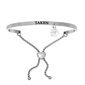 "Stainless Steel White ""Taken"" Intuitions Friendship Bracelet"