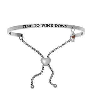 "Stainless Steel White ""Time To Wine Down"" Intuitions Friendship Bracelet"