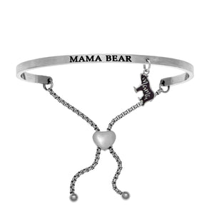 "Stainless Steel White ""Mama Bear"" Intuitions Friendship Bracelet"