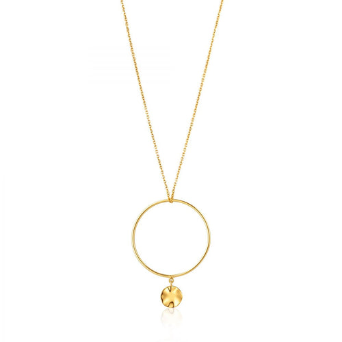 Ripple Circle Necklace Sterling Silver with 14K Gold Plating