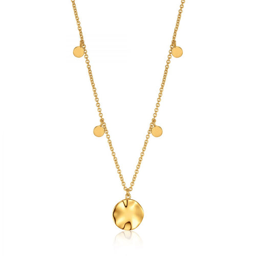 Ripple Drop Disc Necklace Sterling Silver with 14K Gold Plating 18