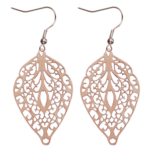 INOX IP Rose Gold Filigree Leaf Shape Hook Dangle Earrings