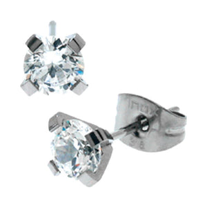 INOX 5MM Prong Set CZ Steel Post Stud Earrings