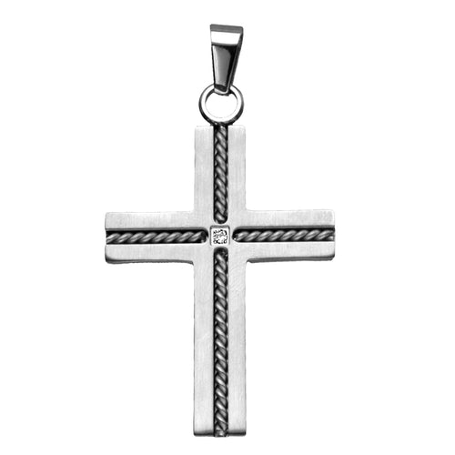 INOX Cross With Twist Cables And CZ (Pendant Only)