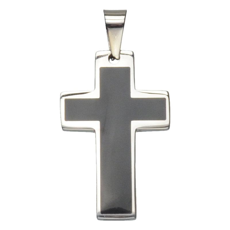 Stainless Steel with Black Inlay Cross