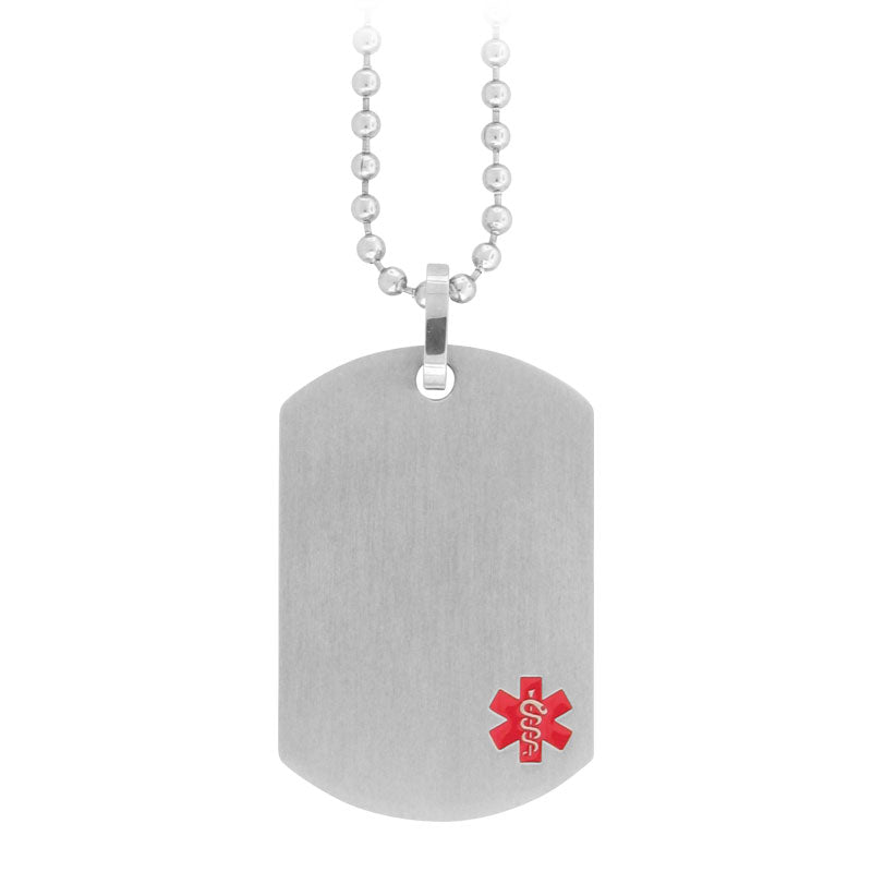 INOX Medical Alert Dog Tag Stainless Steel with Bead Chain