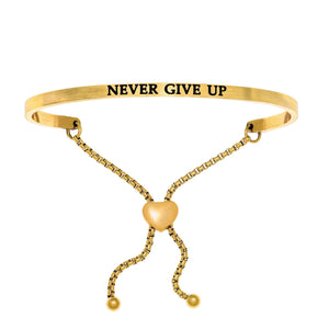 "Stainless Steel Yellow ""Never Give Up"" Intuitions Friendship Bracelet"