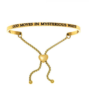 "Stainless Steel Yellow ""God Moves In Mysterious Ways"" Intuitions Friendship Bracelet"