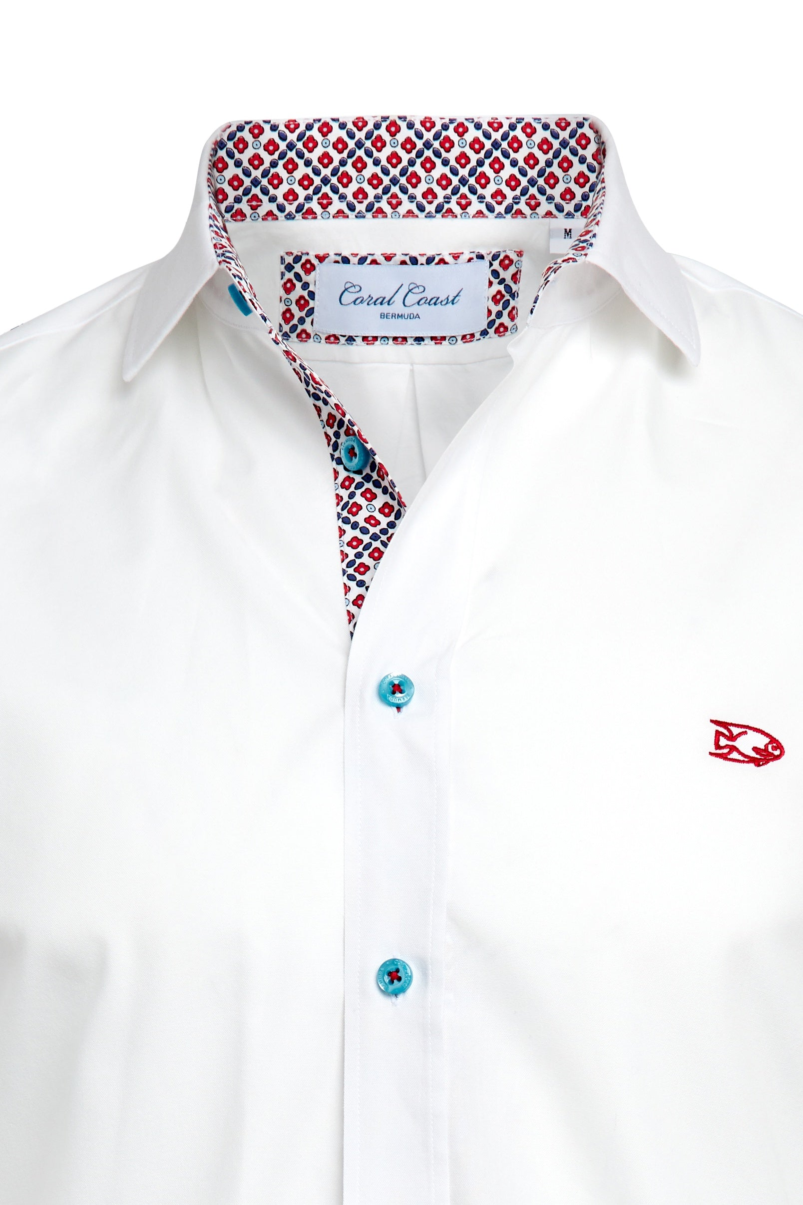 White Red Geo Floral Dress Shirt