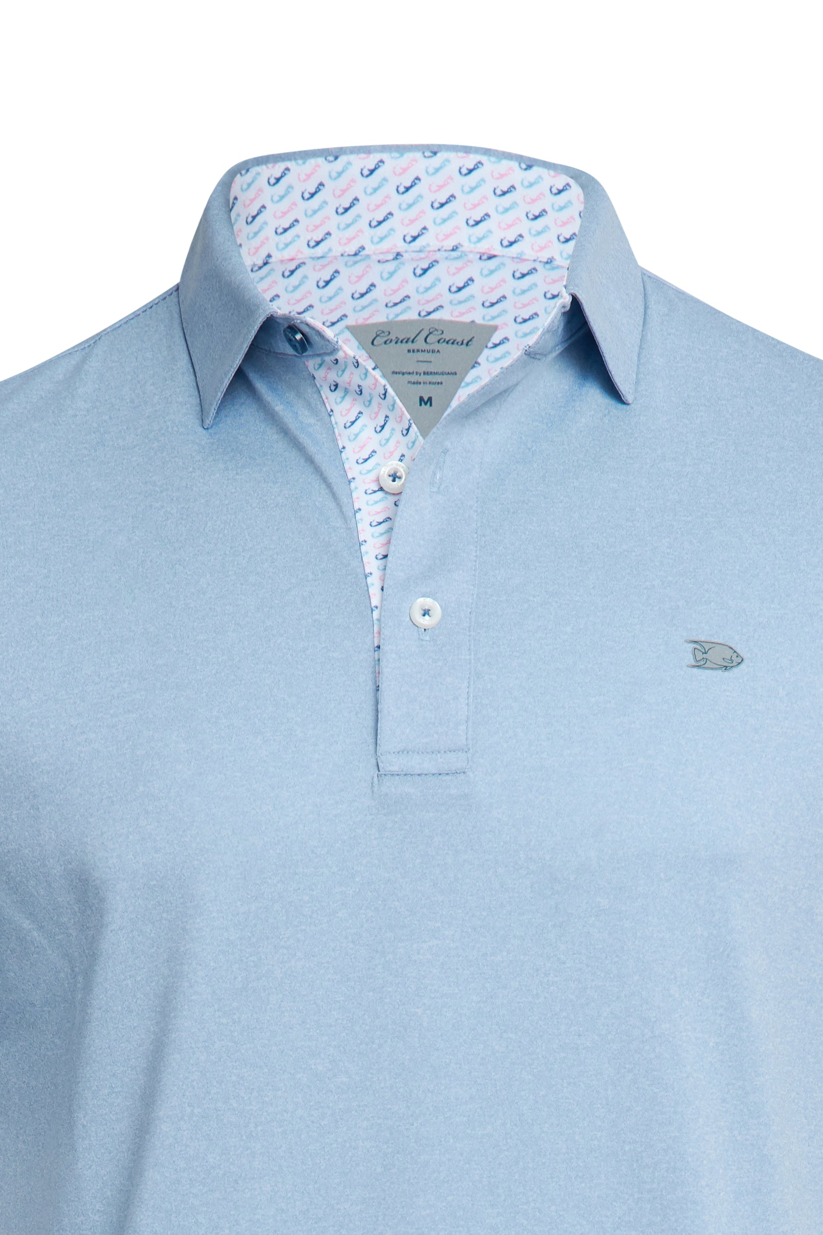 HEATHERED BLUE PERFORMANCE POLO