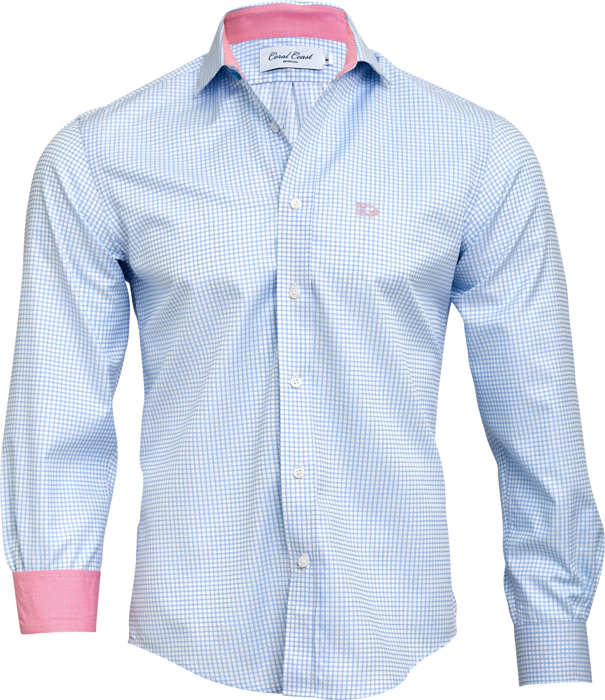Light Blue Windowpane Dress Shirt